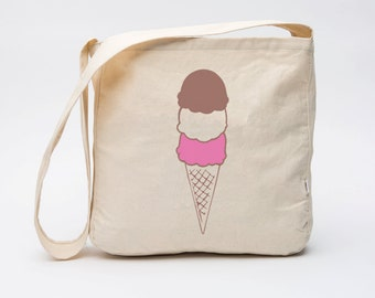 Organic Cotton Ice Cream Cone Market Bag, Famers Market Tote Bag
