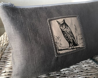 Night Owl Clutch, Linen Handprinted Tool Bag, Made to Order