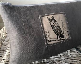 Night Owl Clutch, Linen Handprinted Tool Bag