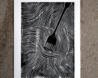 Pasta Black and White Linocut Print