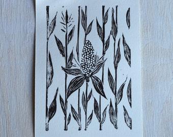 Corn & Husk Black and White Linocut Print