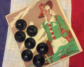 Vintage French Large Black Buttons with pretty graphics on original card