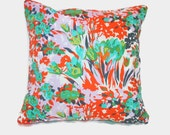 Pink decorative floral pillow cover. Tropical pillow, boho, shabby chic decor. 1 cover for 20x20 insert. Amy Butler fabric. Gray red green.