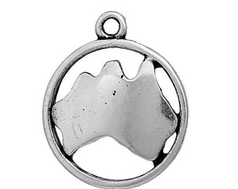 10 AUSTRALIA MAP Charms, Oceania Charms, Map in Circle, Silver Australian Continent Pendants, Sydney, 20x16mm, chs2442