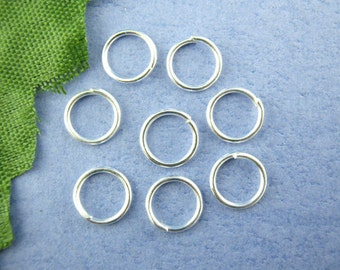 10mm Silver Plated Jump Rings, Open, Thin jump rings, bright silver jump rings, 10mm x 0.7mm, 21/22 gauge wire, 600 pieces, jum0159