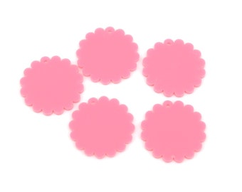 10 CIRCLE Disc FLOWER Laser Cut Acrylic shapes, Bubblegum Pink, for key chains, pendants, customize your size, Lca0214