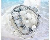Beaded Bracelet, Beach Bracelet Set, Stackable Elastic Gemstone Bracelet, Sea Glass Bracelet / Jewelry, Ocean Jewelry, Sea Glass Jewelry
