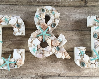 Seashell Letters, Cake Topper Initials, Cake Topper Letter, Beach Wedding Decor, Shell Initials, Wall Initials, Seashell Decor, Set of 3