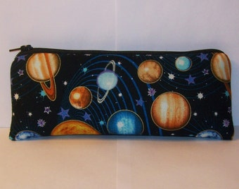 "Planets Pipe Pouch, Space Pipe Case, Glass Pipe Bag, Padded Pipe Pouch, Science Pouch, Stoner Gift, Vape Pen Case, 420 Pouch - 7.5"" LARGE"