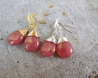 Coral pink earrings wire wrapped tear drop smooth glass dangle earrings
