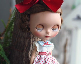 Marin dot Dress - for Blythe, MocaPinoRu, Mary&Ann - doll outfit - by kreamdoll