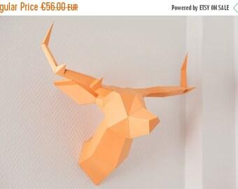 SOLDES/ON SALE Orange Foldeer - Deer Head Papertoy