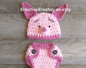 Piglet / Pig Hat & Diaper Cover Set, inspired by Winnie the Pooh (NEWBORN or 3-6 Month size)