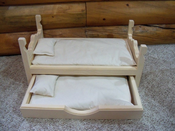 Wooden Trundle Bed Made For 18 Inch Dolls By Thefrogpondworkshop