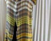 Handwoven Mid-Length Jackette / Vest / Tunic, Linen, Tencel, Silk, Moss & Stone