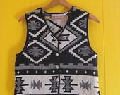 on sale Geometric Designs Vest Vintage Clothing Black and White Bone Buttons Ethnic Style Boho Fashion