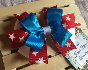 Fourth of July bow - 4 inch hair bow - Red white and blue  - patriotic hair bow