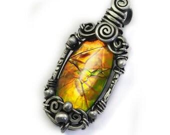 Ammolite pendant handcrafted jewelry, 925 sterling silver Ammolite