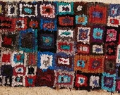 FREE SHIPPING WORLDWIDE TT20043 vintage boucherouite rug, moroccan rugs , rag rug, berber tribal art, morocco carpets, wall art