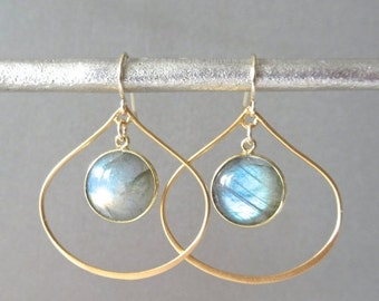 Labradorite Hoop Earrings - Dangle Earrings - Drop Earrings - Labradorite Earrings