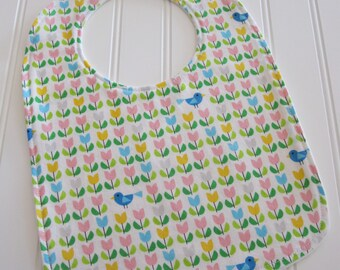 CLEARANCE/SWEET NATURALS/Organic Line/Toddler Bib/12--24 mo./Tulip Field in White