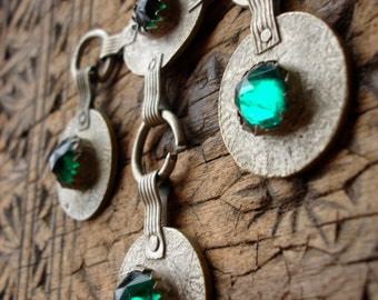 4 x Moroccan tarnished green glass jewel coins
