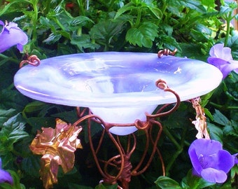 Garden BUTTERFLY FEEDER, stained glass, copper garden, Pale LAVENDER, Bird Feeder, Garden Decor, garden stake