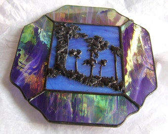 ART GIFTS under 40, Stained Glass, Forest, Trees, SUNCATCHER, Violet, Iridescent, Black, Blue, Home Decor