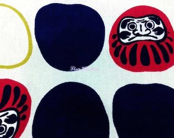 Japanese daruma dolls, in dark blue and red, 1/2 yard, pure cotton fabric