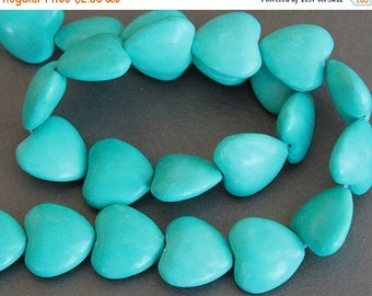 CLEARANCE SALE - Chalk Turquoise Large Heart Beads 18mm (4 Beads)