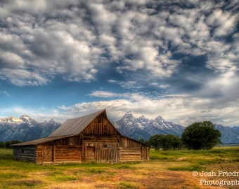 Moulton Barn and Grand Teton Mountains Fine Art Photograph Historic Mormon Row Clouds Wyoming Landscape Photography Western Decor Wall Art