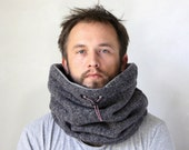 Biking cowl, scarf mens, tweed scarf, Snock® in moroccan wool with cotton blend lining