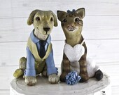 Custom Dog and Cat Wedding cake topper