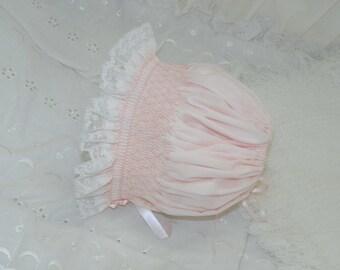3 to 6 Month  Pastel Pink  Bonnet