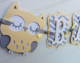 Owl Baby Shower Banner, gender neutral banner, Baby Banner, Baby Shower Decorations, Yellow and Gray banner