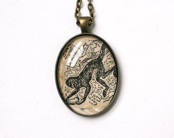 Animal lover gift. Upcycled necklace. Wildlife art print. Monkey jewelry. Illustration jewelry. Vintage animal art print. Recycled fashion.