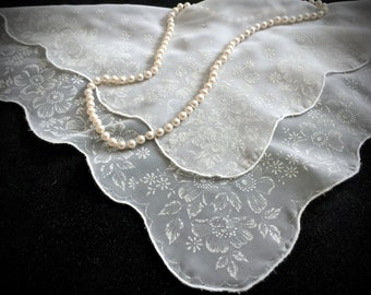 Vintage Sheer White Floral Handkerchief - Vintage Hankies - Antique Handkerchief - Vintage Accessories - Shabby Chic - Weddings - Gifts