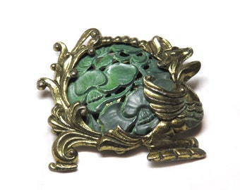 Fun Vintage 40s 50s Chinese Dragon Faux Jade Brooch