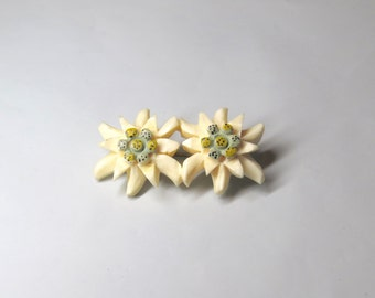 Vintage Victorian Carved & Hand Painted Edelweiss Flower Brooch
