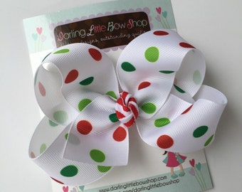 Christmas Bow with red, emerald and lime green polka dots -- basic bow to match our Christmas JOY and LOVE sets