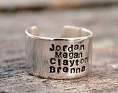 Four Name Personalized Stacked Name Ring.  Sterling Silver Cuff Ring.