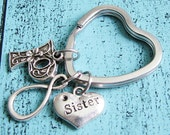 sister keychain, sister gift, best friend keychain bff, infinity keychain, friendship keychain, heart, best friends gift, gift for sister