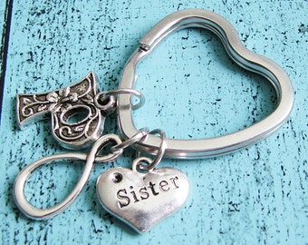 sister keychain, sister gift, best friend keychain bff, infinity keychain, friendship keychain, heart, best friends gift, gift for sister