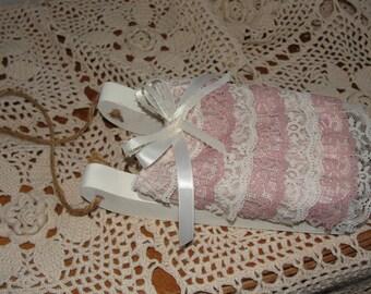 Shabby chic sled, christmas ornament, pink shabby, shabby cottage, xmas