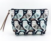 Owls Zipper Pouch, Padded, Notion Pouch, Small Cosmetic Bag, Gadget Case, Gift idea, Accessory Pouch