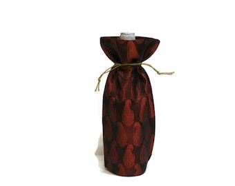 Wine Bag handmade Banaras sari fabric woven elegant silky shaded metallic red paisleys gift bag Hostess gift favors reusable