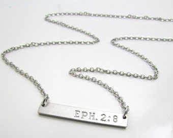 "Scripture Necklace - Personalized Bar Necklace - Personalized Necklace - 16"", 18"", 20"" - Stainless Steel Bar Necklace - Minimalist Necklace"