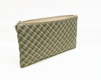 CLEARANCE pencil case zipper pouch zipper bag makeup bag makeup pouch tan brown plaid