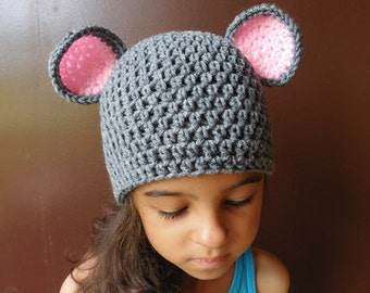 Little Mouse Grey Pink Crochet Hat Baby Girl or Baby Boy Photography Prop Costume All Sizes  from Preemie to Adult