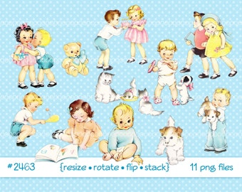 Digital Clipart, instant download, Vintage children baby, Toddler, Child, Kid, Little Girl, Little Boy, Pets, puppy kitten PNG files 2463